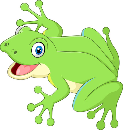 croaking: Vector illustration of Cute frog isolated on white background