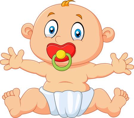 positivismo: Ilustración del vector del bebé lindo que se sienta con el chupete aislado en el fondo blanco Vectores