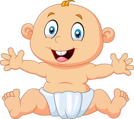 Vektor-Illustration von Cute Baby Junge sitzt auf weißem Hintergrund isoliert