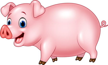 stocky: Vector illustration of Cartoon funny pig isolated on white background Illustration