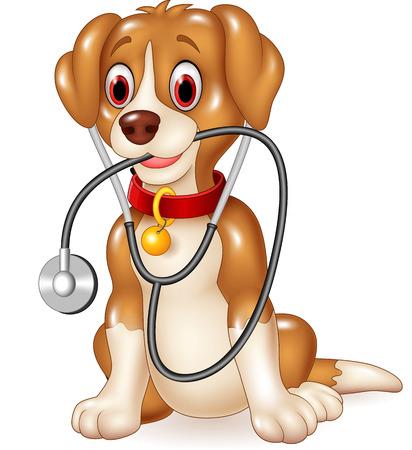 hospital dibujo animado: Ilustración del vector del perro divertido de la historieta que se sienta con el estetoscopio Vectores