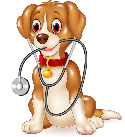 Vector illustratie van Cartoon grappige hond zitten met een stethoscoop Stock Illustratie