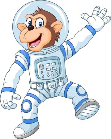 Vector illustration of Cartoon funny monkey wearing astronaut costume