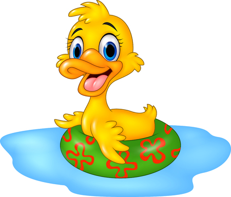 swims: Vector illustration of Cute duck floating with inflatable ring