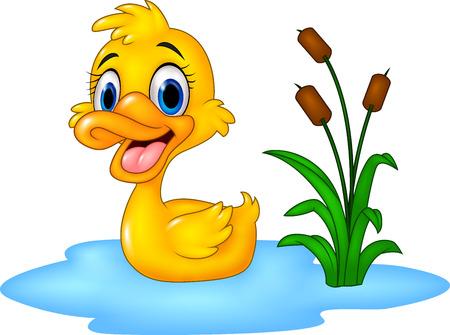 Ilustración de vector de pato de bebé gracioso de dibujos animados flota sobre el agua