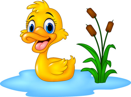 Vector illustration of Cartoon funny baby duck floats on water
