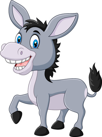 Vector illustratie van schattige ezel op een witte achtergrond