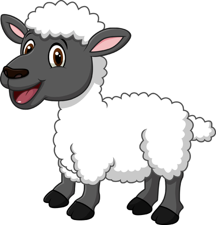 Ilustracji wektorowych Cartoon Zabawna owiec stwarzających samodzielnie na białym tle