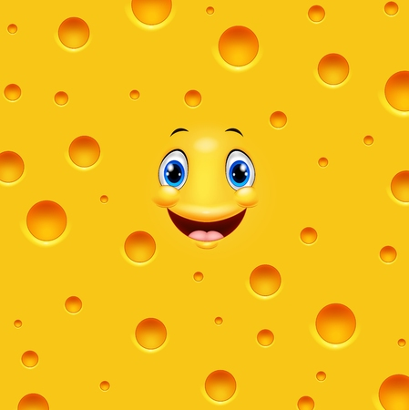 Vector illustration of Cartoon cheese smiling