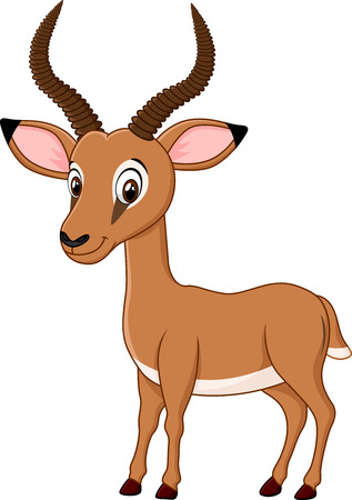 Vector illustration of Cartoon funny impala isolated on white background