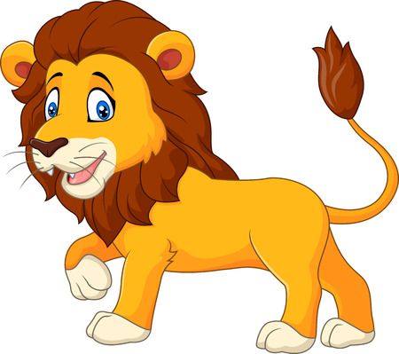lion tail: Vector illustration of Cute lion walking isolated on white background Illustration