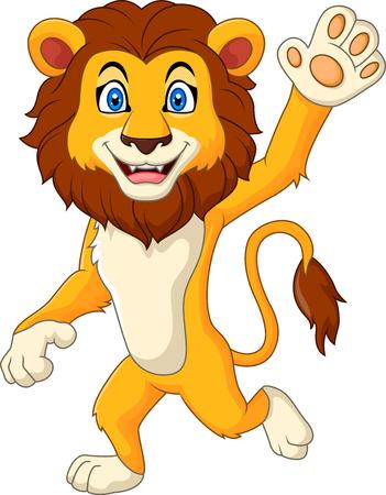 Vector illustratie van Cartoon grappige leeuw golvende hand