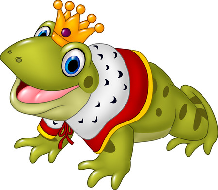croaking: Vector illustration of Cute frog king isolated on white background