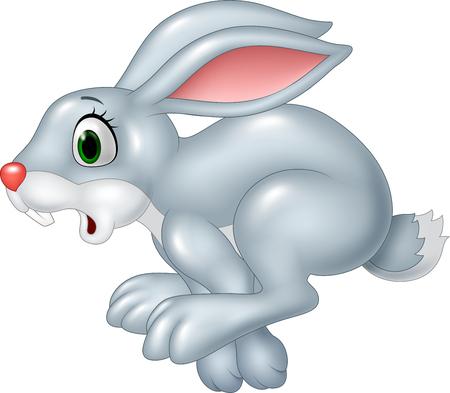 Vector illustratie van Cartoon grappige paniek bunny lopen op een witte achtergrond
