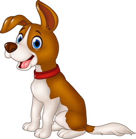 silly: Vector illustration of Cartoon funny dog sitting isolated on white background