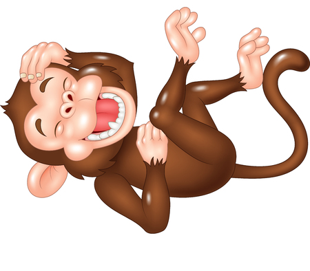 Vector illustration of Cute monkey laughing isolated on white background
