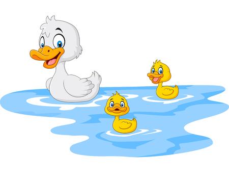 Ilustración de vector de pato divertido madre de dibujos animados con flotadores de pato bebé en agua