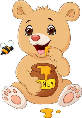 Vector illustration de bande dessinée drôle bébé ours tenant pot de miel isolé sur fond blanc