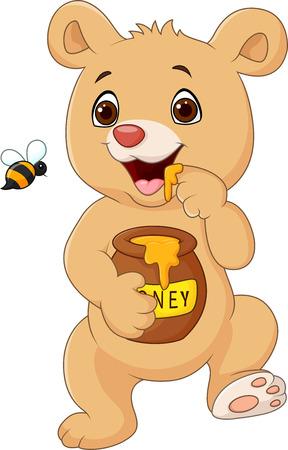 honey pot: Vector illustration of Cute baby bear holding honey pot isolated on white background Illustration