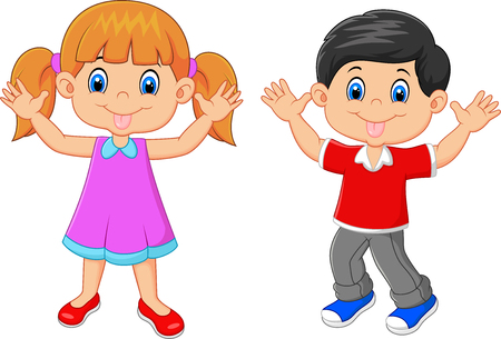 little boy and girl: Vector illustration of Little kid waving hand isolated on white background
