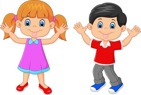 Vector illustration of Little kid waving hand isolated on white background Vector Illustration