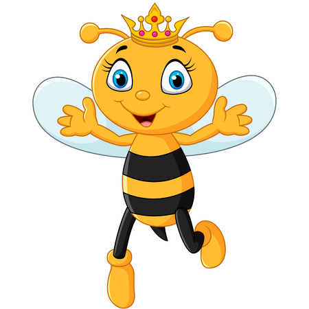 Vector illustration of Cute queen bee hands up isolated on white background