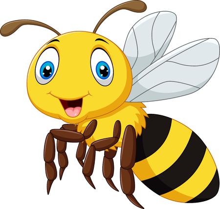 Vektor-Illustration von Cartoon Lächeln Biene fliegt auf weißem Hintergrund