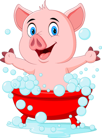 cartoon bathing: Vector illustration of Cartoon pig bathing waving hand Illustration