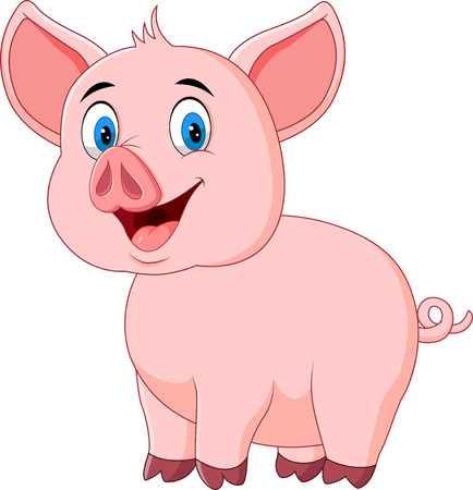 Vector illustration of Cute pig posing isolated on white background