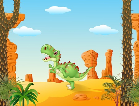 carnivores: Vector illustration of Cute tyrannosaurus running with the desert background
