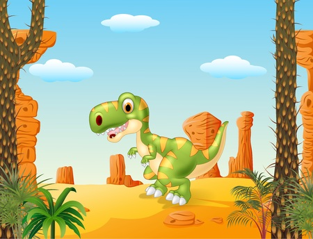 tyrannosaur: Vector illustration of Cute baby tyrannosaur with the desert background