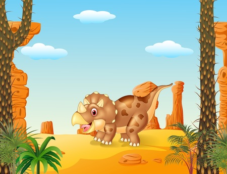 triceratops: Vector illustration of Cartoon triceratops three horned dinosaur with the desert background Illustration