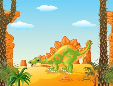 stegosaurus: Ilustraci�n del vector de la historieta linda que presenta estegosaurio con fondo prehist�rico