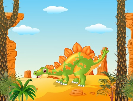 stegosaurus: Vector illustration of Cartoon cute stegosaurus posing with prehistoric background