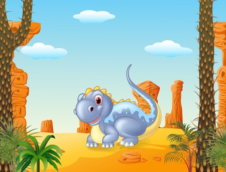 terrific: Vector illustration of Adorable dinosaur sitting with prehictoric background Illustration