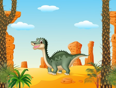 t background: Vector illustration of Cartoon cute dinosaur withprehistoric t background
