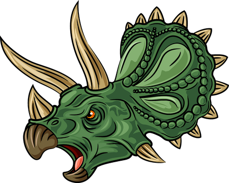 triceratops: Vector illustration of angry triceratops isolated on white background Illustration