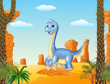 diplodocus: Vector illustration of Cartoon mom and baby dinosaur hatching with the desert background