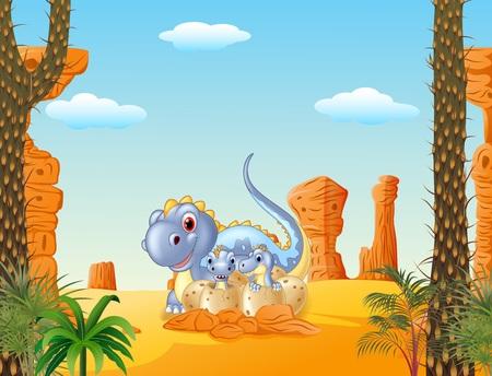 dinosaur egg: Vector illustration of Cartoon mom dinosaur and baby dinosaurs hatching