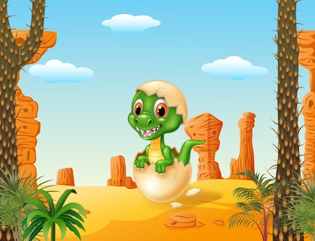prehistorical: Vector illustration of Cute baby tyrannosaurus hatching with prehistoric background