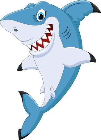 Vector illustration of Cartoon funny shark posing