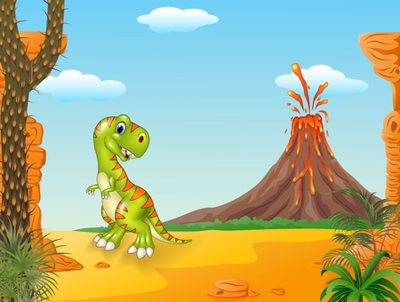 powerful volcano: Vector illustration of Cute tyrannosaurus running with the volcano background