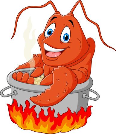 Vector illustratie van Cartoon grappige zeekreeft worden in een pan gekookt