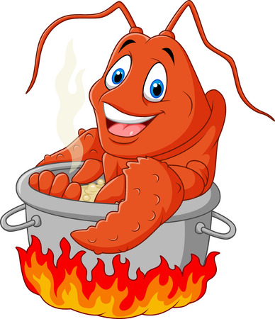 lobster pots: Vector illustration of Cartoon funny lobster being cooked in a pan Illustration