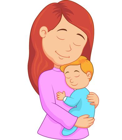 Vector illustratie van Cartoon moeder die haar zoon