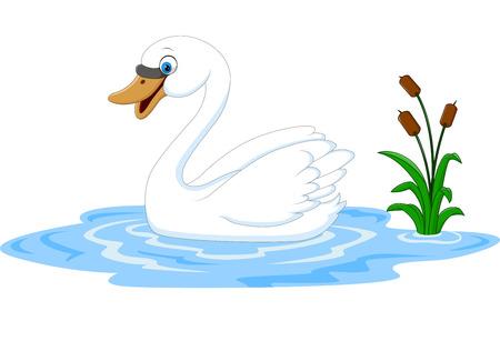 Vector illustratie van Cartoon schoonheid zwaan drijft op het water