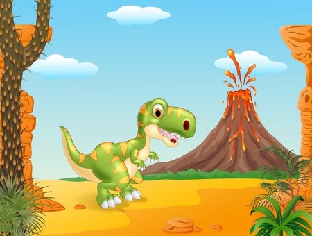 powerful volcano: Vector illustration of A cute tyrannosaurus character with Prehistoric background Illustration