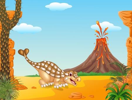 powerful volcano: Vector illustration of Cute ankylosaurus dinosaur character in the prehistoric background