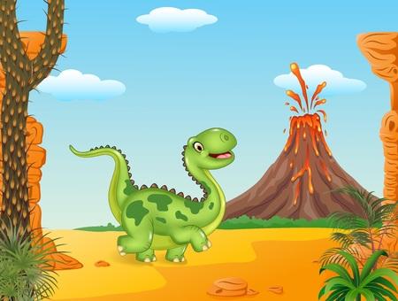 powerful volcano: Vector illustration of Cartoon funny walking dinosaur in the prehistoric background