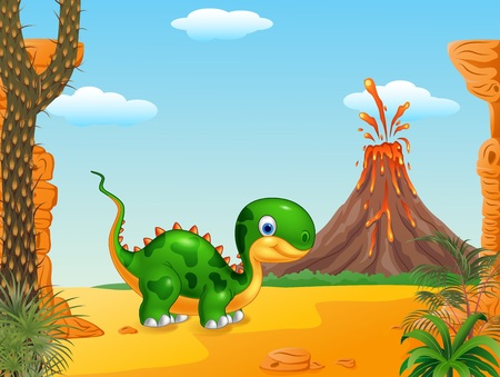 powerful volcano: Vector illustration of Cute baby dinosaur posing in the prehistoric background